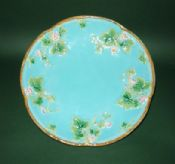 Superb George Jones Turquoise Majolica Strawberry Serving Dish c1875